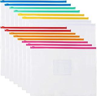 EOOUT 16Pcs Clear Poly Zip Envelope Plastic Organizer Envelope, 7 Colors File Folder Document Bags, Letter Size A4 Size, f...