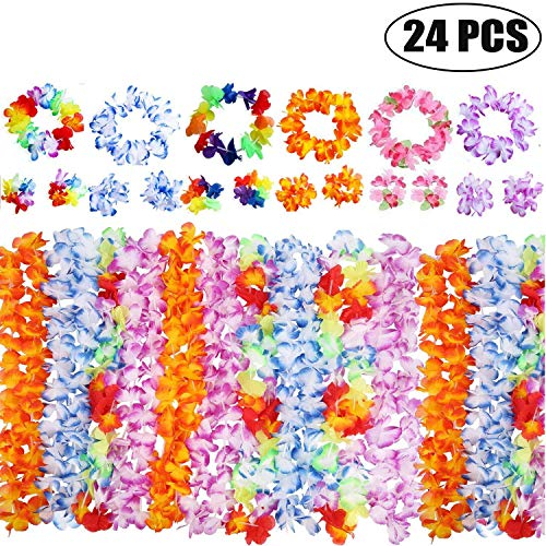 Anzmtosn Set of 6 Hawaiian Garlands Leis Luau Flowers Banner With 12 Bracelets 6 Headbands And 6 Necklaces For Luau Hawaii Party Decorations Supplies Accessories Photo Booth Props Mixed
