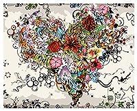 油絵 数字キット 手塗り デジタル油絵 DIY絵 40x50センチ 塗り絵 (ハート)