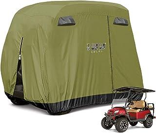 10L0L 4 Passenger Golf Cart Cover Fits EZGO, Club Car and Yamaha, 400D Waterproof with Extra PVC Coating Sunproof Dustproo...