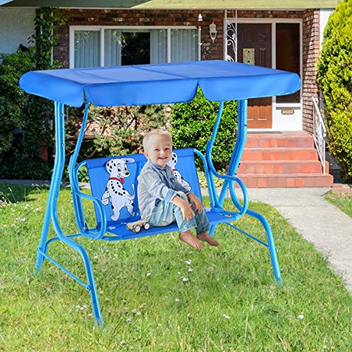 Bestdeal.shop Kids Patio Swing Bench with Canopy 2 Seats Outdoor Designed for Children to Sit and Play Outside