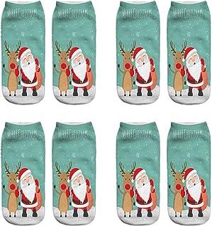 VJGOAL, Mujeres Moda casual Navidad 3D Impreso tejido liso fina impresión Calcetines Lindo tubo corto boca poco profunda baja ayuda calcetines 1 Pairs / 4 Pairs(Un tamaño,Multicolor17)