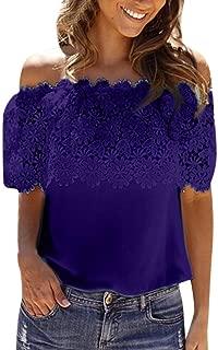 TLTL Sexy Women Off Shoulder Casual Tops Blouse Lace Crochet Chiffon Shirt