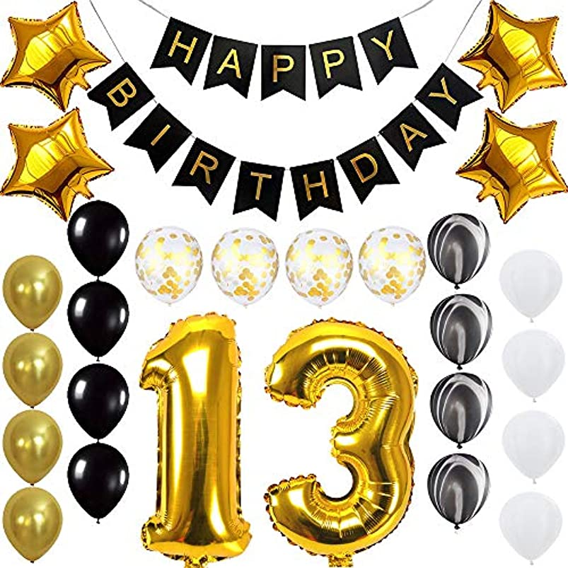 Happy 13th Birthday Banner Balloons Set for 13 Years Old Birthday Party Decoration Supplies Gold Black rlamqdwp003110