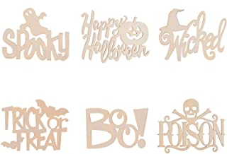 DIY Craft - Unfinished Wood Halloween Laser Cut Word Cutouts - Set of 6 - Approx 5 Inches