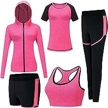 Inlefen Trainingspakken Voor Dames Sportsuit-Set Zacht Rennen Training Trainingspak 5-Delige Set Sportbeha, T-Shirt, Jas E...