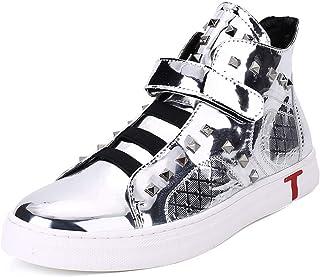 Aomoto Men's Patent Microfiber Leather Fashion Sneaker Shoes Lightweight Waterproof Boots Hook&Loop Strap Elastic Band Rivet Anti-Slip High Top