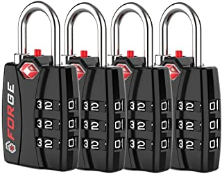 Forge TSA Luggage Combination Lock - Open Alert Indicator, Easy Read Dials, Alloy Body- Ideal for Travel, Lockers, Bags (B...