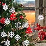 Sunshine smile 24 Stück Schneeflocken Deko,Schneeflocken Weihnachten Deko,Schneeflockendeko,Schneeflocke Weihnachtsbaumschmuck,Weihnachten Schneeflocken Anhänger,Weihnachtsbaum Deko(Weiß)