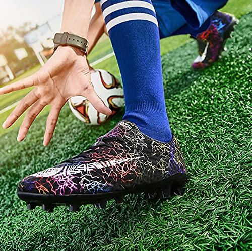 XRDSHY Zapatillas de Fútbol Hombre Profesionales Training Botas de Fútbol Spike Aire Libre Atletismo Zapatos de Entrenamiento Zapatos de Deporte,Black A-37 EU