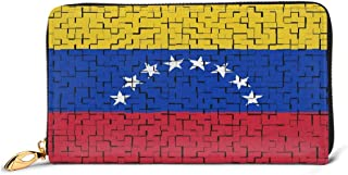 Venezuela Flag Puzzle Leather Wallet Lightweight PU Leather Purse Extra Capacity Zipper Clutch Practical Money Organizers With Card Slots For Women