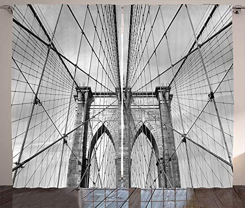 LBHHH Cortinas De Paisaje Estados Unidos Nueva York Puente De Brooklyn Paisaje Urbano Impresión Fotográfica Sala De Estar Dormitorio Cortinas De Ventana Negro Blanco (Ancho) 150 × (Alto) 200cm