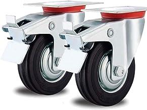 2 zwenkwielen 125 mm transportrol draaibaar stuurbaar stalen velg voor buiten 125 mm zwenkrol