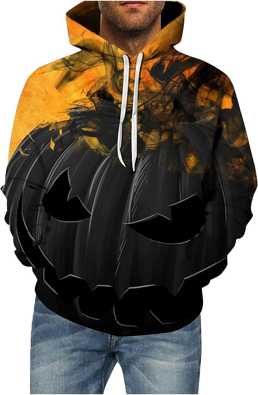 XXBR Halloween Hoodies for Mens, 3D Funny Pumpkin Black Cat Bat Print Hooded Sweatshirts Casual Novelty Pullover