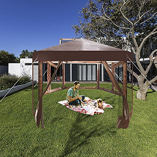 CARSTY Gazebos for Patios, Come with Screen Curtain, Strong Anti-UV Canopy Tent with 110 Square Feet of Shade (Hexagonal, 6.6 Ft Side Length x 6)