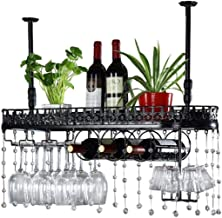 Kitchen Storage Organisation Metal Stemware Racks Black Ceiling Mounted Hanging Wine Bottle Holder Wine Cooler Upside Down...