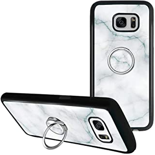 Grey Marble Samsung Galaxy S7 Phone Case with Ring Holder Kickstand, Heavy Duty Armor Protective Soft TPU Bumper Shell Cover for Samsung Galaxy S7