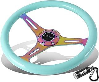 NRG Innovations ST-015MC-MF 350mm Neo Minty Fresh Wood Grain Steering Wheel + LED Keychain Flashlight