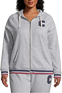 Champion Women's Plus Heritage Fleece Zip Hoodie, Block C Oxford Grey 2XL