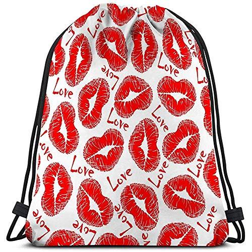 Trekkoord Rugzak Sport Gym Bag Voor Vrouwen Mannen lip prints liefde rood hart vormige vrouw lippenstift tekst Abstract
