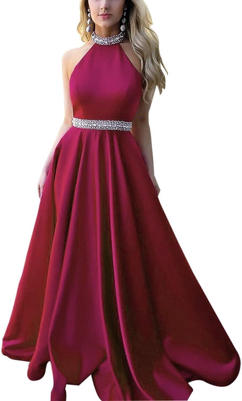 MariRobe Womens Crystals Halter Neck Dress for Graduation Satin Pleat A Line Prom