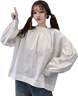 MLbossトップス 長袖 オーバーサイズ カットソー パフスリーブ 韓国ファッション 薄手 春物 ブラウス クルーネック