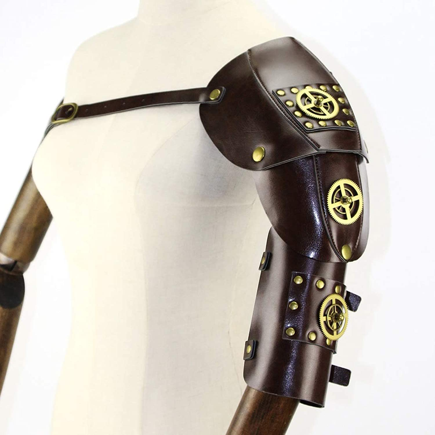 Santonliso Gothic Steampunk Adjustable Arm Strap Body Chest Harness Shoulder Armors Cosplay Metal Rivets Accessory Decor Beefy and Aggressive Look Club Wear Costumes (color   Brown)