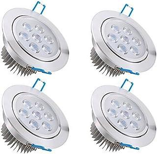Bay 4x 7W Focos LED Empotrables , Techo Ultra delegado Downlight , Blanco Frío 6000K 630 Lumen , 90V-285V Equivale 50W , Ra80 IP44 Incluye Transformador