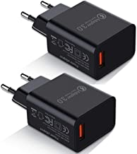 Europe Travel Adapter, Besgoods 2-Pack Quick Charge 3.0 Wall Charger Europe Travel Plug Adapter Compatible with Samsung Galaxy S8 S9/ Note 8 9, iPhone, iPad, LG, HTC 10 and More