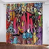 danyangshop Cortinas Opacas De Impresión 3D Graffiti Cortina Aislante Térmica 100% Poliéster Cortinas Opacas De Dormitorio 250(H) x150(An) Cmx2 Piezas/Set