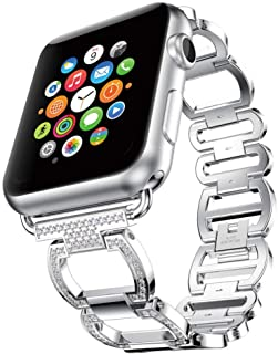 Daptsy Watch Bands Compatible with 38mm Apple Watch Band Stainless Steel and Ceramics for iWatch Series 3 2 1 Design Unique Silver