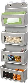Hanging Storage Box, 4-pocket Gery Organizer Systems, Over the Door Storage Bag with Transparent Windows, Closet Organizer...