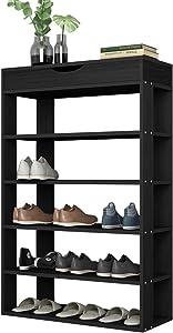 sogesfurniture Étagère de Chaussures de Rangement en Bois, 5 Étages Meuble à Chaussures Portant de Stockage à l'Entrée pour Chambre/Salon, 75 * 24 * 94cm, L24-BK-BH