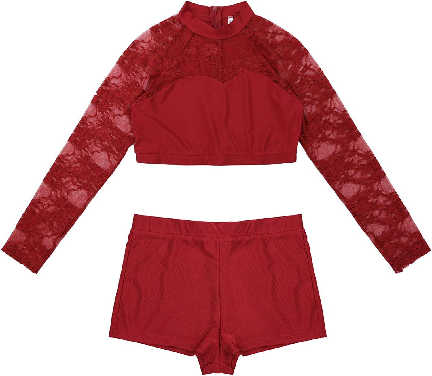 ACSUSS Women Adult Lace Overlay Mock Neck Lyrical 2 Pieces Crop Top with Shorts Set Dance Outfits