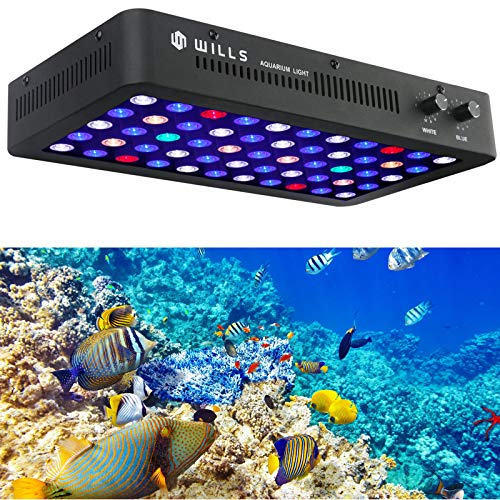 Wills LED Aquarium Light Full Spectrum 165W Dimmable Blue and White Coral Reef Fish Tank Lights Applicable for Freshwater & Saltwater