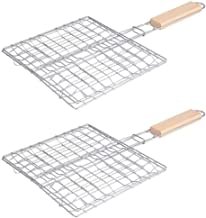 Hemoton 2PCS Stainless Steel Square Practical Foldable BBQ Grill Barbecue Net Barbecue Supplies with Wooden Handle for Picnic Outdoor
