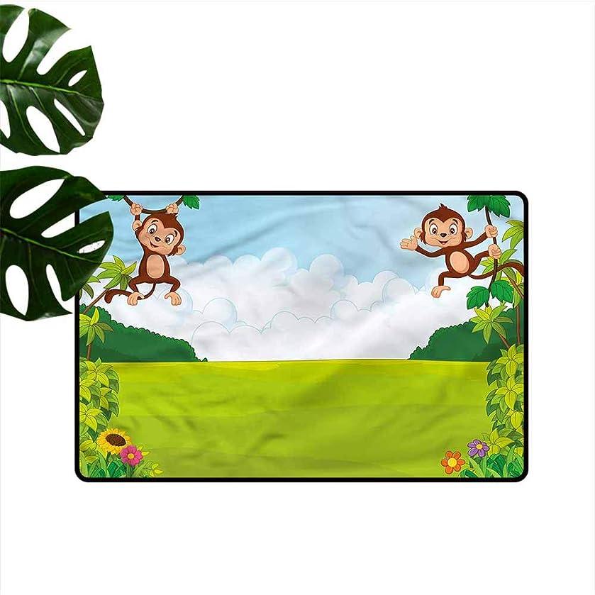 HOMEDD Rubber Doormat,Nursery Cute Monkeys on Vines,Easy Clean Rugs,31