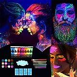 Pintura Corporal Set de 8 Colores,Pintura Resplandor Pintura Arte Corporal UV Luz Negra Arte Maquillaje Fluorescente Color Maquillaje,Glow Blacklight Neon Fluorescente para Fiesta Clubbing Festival
