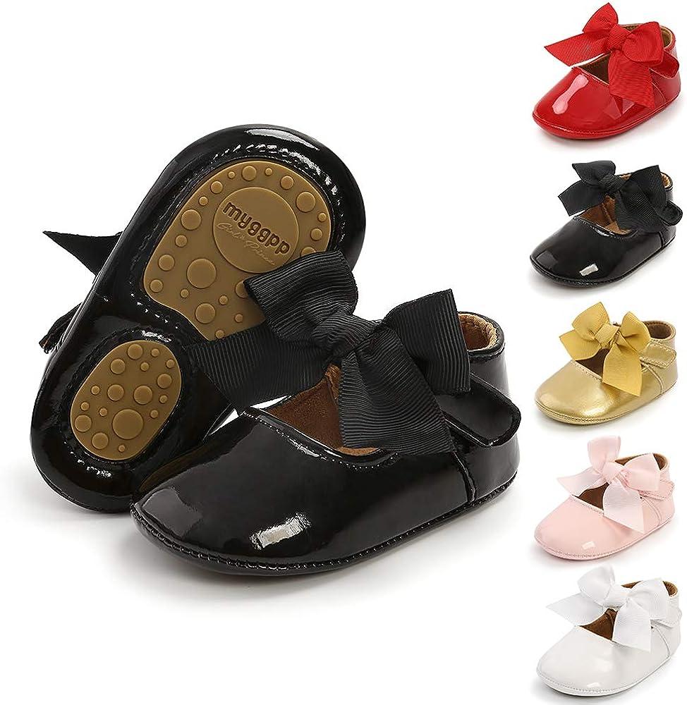 BiBeGoi Mary Jane Zapatos de ballet para reci/én nacidos con mo/ño y suela antideslizante suave para ni/ñas