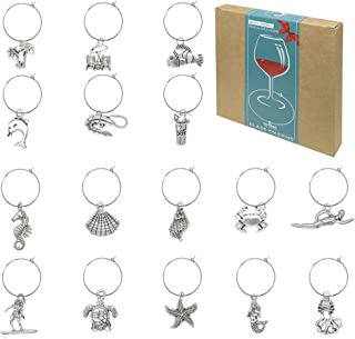 16 Piece Beach Themed Wine Glass Charms,Wine Tasting Party Decoration Supplies Gift