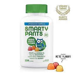 SmartyPants Kids Formula & Fiber Daily Gummy Vitamins: Gluten Free, Multivitamin & Omega 3 Fish Oil
