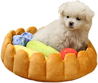 S-Lifeeling Fashion Pet Cushion Bed Detachable Updated Version Winter Plush Nest Kennel Lovely Tart Warm Comfortable Extended Dog Mat Pad Cat Mat