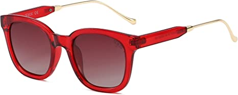 transparent sunglasses red gold details square