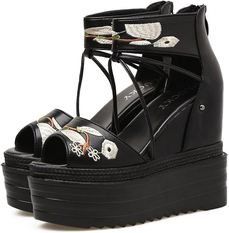 GAOLIXIA damen Damen Frühling Sommer versteckte Ferse Peep Toe Sandalen dicken Boden Schwamm Stickerei ethnischen Stil High Heels schwarz B07CNXP9FH  Elegante und robuste Verpackung
