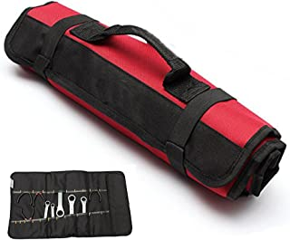 Yosoo Multi-Purpose 22-Pocket Reel Rolling Tool Bag Plier Screwdriver Spanner Carry Case Pouch Bag (Red)