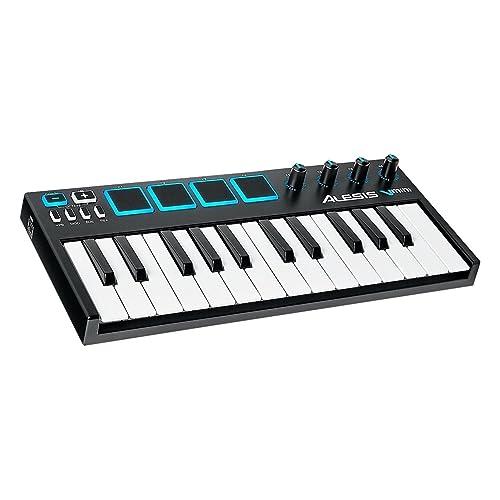 Alesis - V Mini  - Contrôleur USB MIDI Portable 25 Touches Sensible à la Vélocité avec 4 Pads de Percussion + Logiciel Xpand!2 - Noir