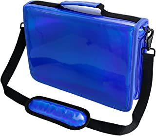 YOUSHARES 160 Slots Holographic Pencil Case - Laser PU Plating Color Large Capacity Zipper Pen Bag for Prismacolor Watercolor Pencils, Crayola Colored Pencils, Marco Pens & Cosmetic Brush (Blue)