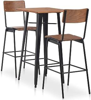 vidaXL Set Mesa Alta + 2 Taburetes Respaldo Cocina Bar Barra 3 Pzas Diseño Industrial Madera Patas Acero Conjunto Muebles Sillas Desayuno Marrón Negro