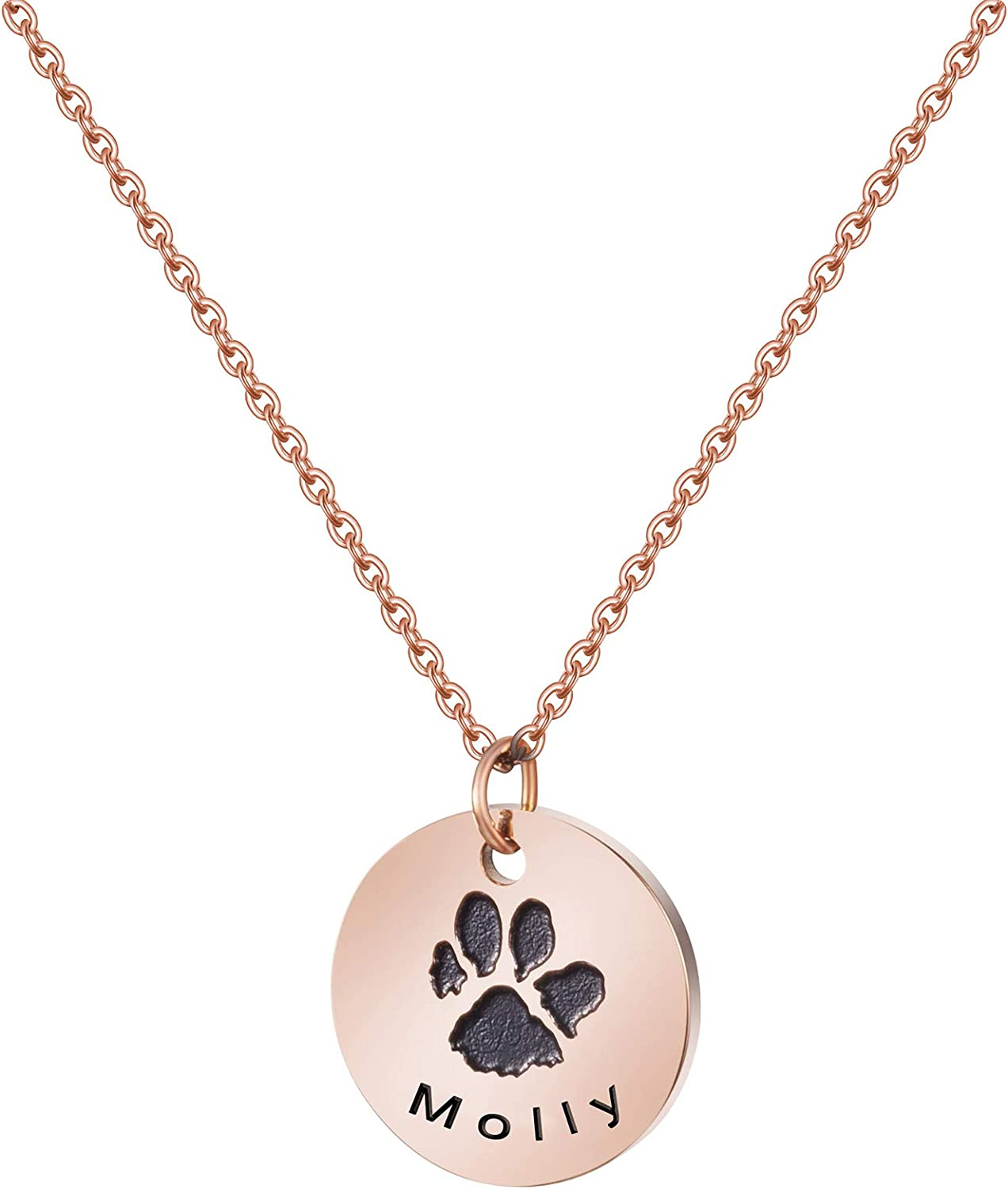 Joycuff Pet Memorial Name Necklace Personalized Rose Gold Dog Pawprint Necklace Sympathy Gifts for a Grieving Pet Owner Remembrance Jewelry for Pet Lovers