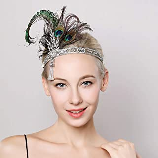 Asooll 1920s Flapper Peacock Headband Roaring 20s Great Gatsby Crystal Feather Headpiece Feather Showgirl Prom Hair Accessories for Women